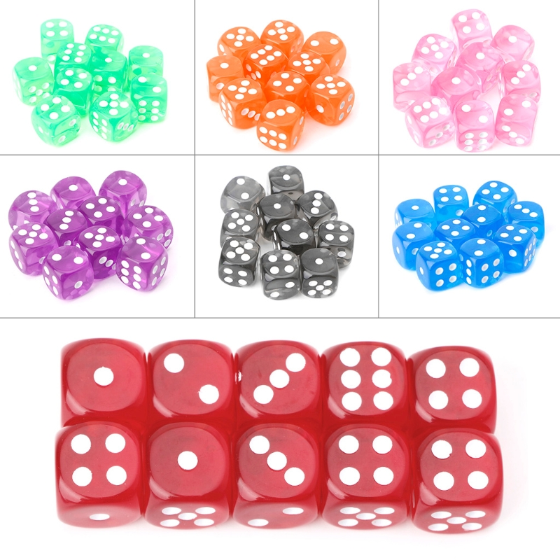 Six Sided 15mm Transparent Cube dice Round Corner Portable Table Playing Games 10pcs