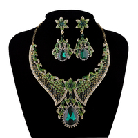 India style Necklace sets Bridal Wedding Necklace earrins set Women Party Crystal Earrings set Green color cubic rhinestone