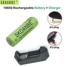 1 pcs SKOANBE Vert 3000 mAh 18650 Li-ion Rechargeable Batteries 3.7 V au lithium-ion Batteries avec 18650 Chargeur