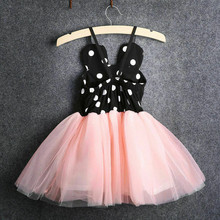 Emmababy Sumemr New Baby Girls Dress Cute arrival Black White Big Dot Knee-Length Dresses Kids Sling Tutu High Quality