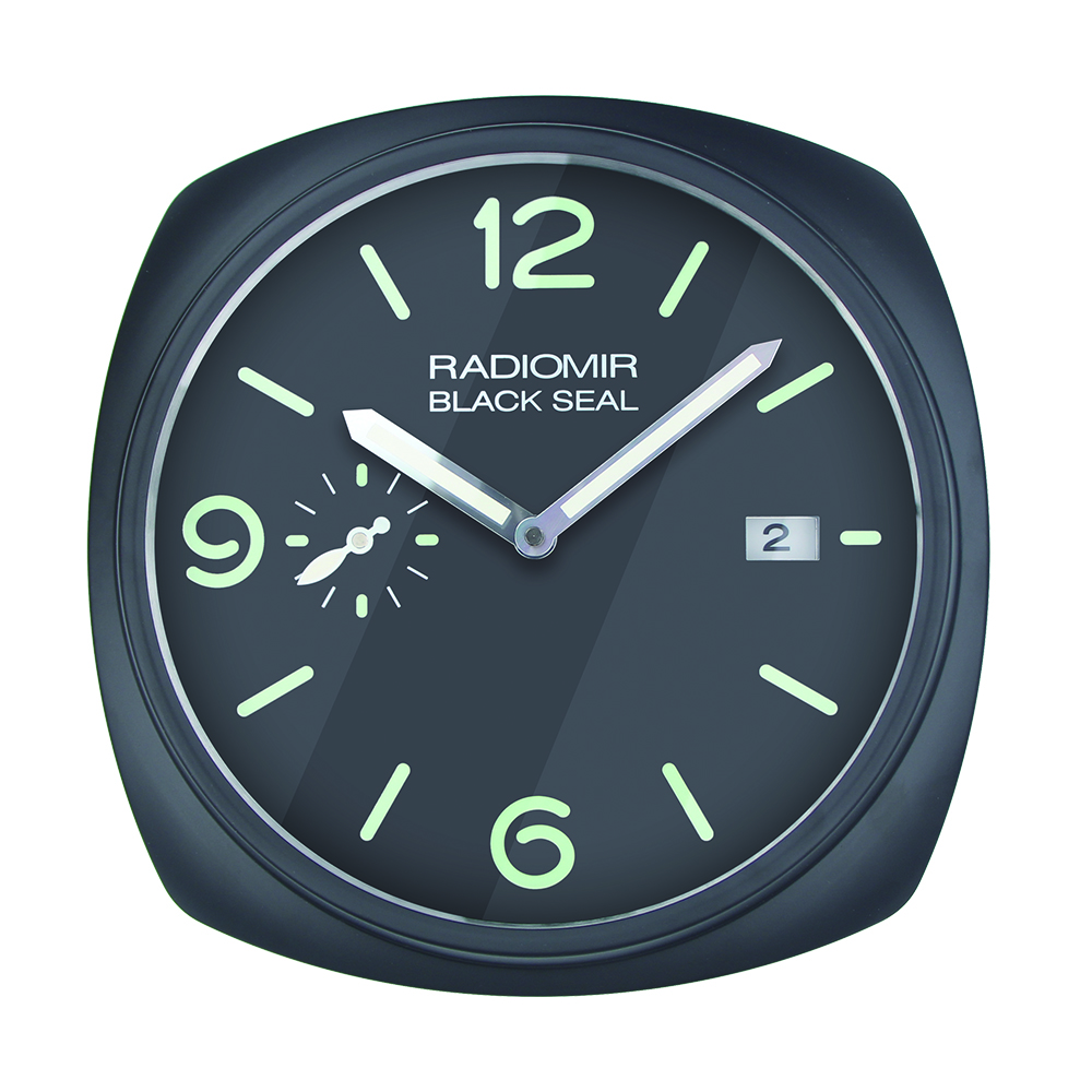 Top deisgn watch shape wall clock wall watch with date for retail with logos