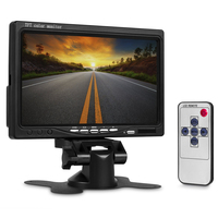 7 inch TFT LCD 2Video Input Car Rear View Headrest Monitor DVD VCR Monitor with Remote Control and Stand Support Rotating