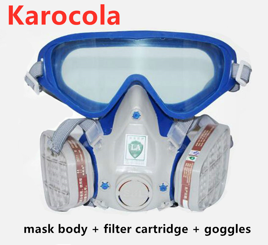 Paint Spraying Gas Mask Safety Glasses Respirator Chemical Anti-Dust Military Eye Goggle Activated Carbon Fire Escape Breathing