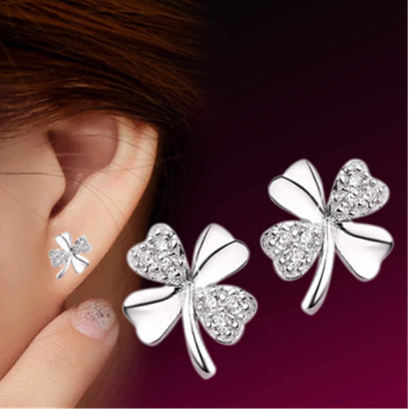 2018 fashion jewelry silver plated 925 earrings lucky frosted flower sweetheart accessories retro earrings female