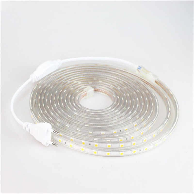 Светодиодные ленты 5050 220V Водонепроницаемый гибкий светодиодный свет ленты 220V лампы открытый строка 1 м 2 м 3 м 4 м 5 м 10 м 12 м/15 м/20 м 25 м 60 Светодиодный s/M