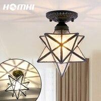 Hexahedrons star vintage ceiling lamp corridor crystal chandeliers geometric balcony lighting Hallway entrances glass luster