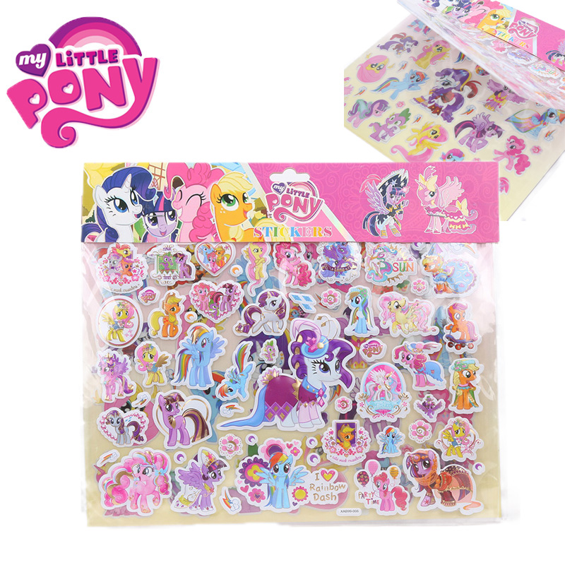 Stickers Pony-Toys Twilight Sparkle Nail-Art Pinkie Pie My Little Cartoon PVC for Bicycle