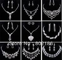9 sätze/los Hochzeit Klar Rhinestoneohrring Halskette Schmuck-Set Mischen Verschiedene Design, Piercing/Clip auf Ohrringe Freies Verschiffen