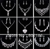 9sets Lot Wedding Clear Rhinestone Earring Necklace Jewelry Set Mix Different Design Piercing Clip On Earrings