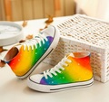 Rainbow Color Shoes Hand Painted Casual Breathable Women Canvas Flat Lace-up Shoes Gradient Harajuku  Canvas Shoes Zapatos Mujer
