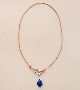 Woman Chokers Necklaces Lapis Lazuli Genuine Leather Short Charm Necklace New Fashion Pendant Necklaces Jewelry(China)