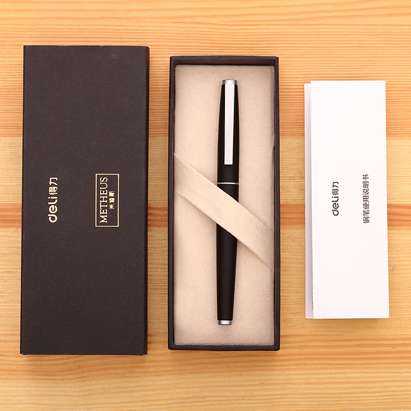 DELI Fountain Pen High Grade Business Office Signature Ink Pen 0.5mm/0.7mm Student Writing Pen Stationery Pluma Fuente Gift Set DELI Fountain Pen High Grade Business Office Signature Ink Pen 0.5mm/0.7mm Student Writing Pen Stationery Pluma Fuente Gift Set