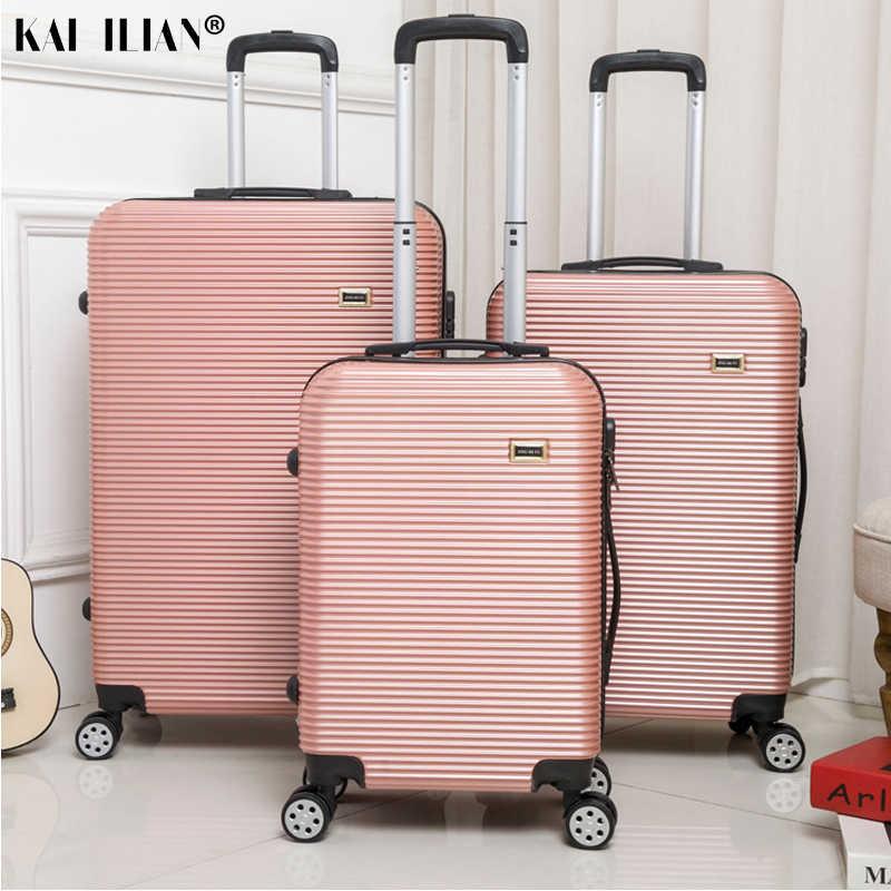 Hot 20/24/28 Inch Rolling Bagage Sipnner Wielen Abs + Pc Vrouwen Reizen Koffer Mannen Mode Cabine Carry-op Trolley Doos Bagage