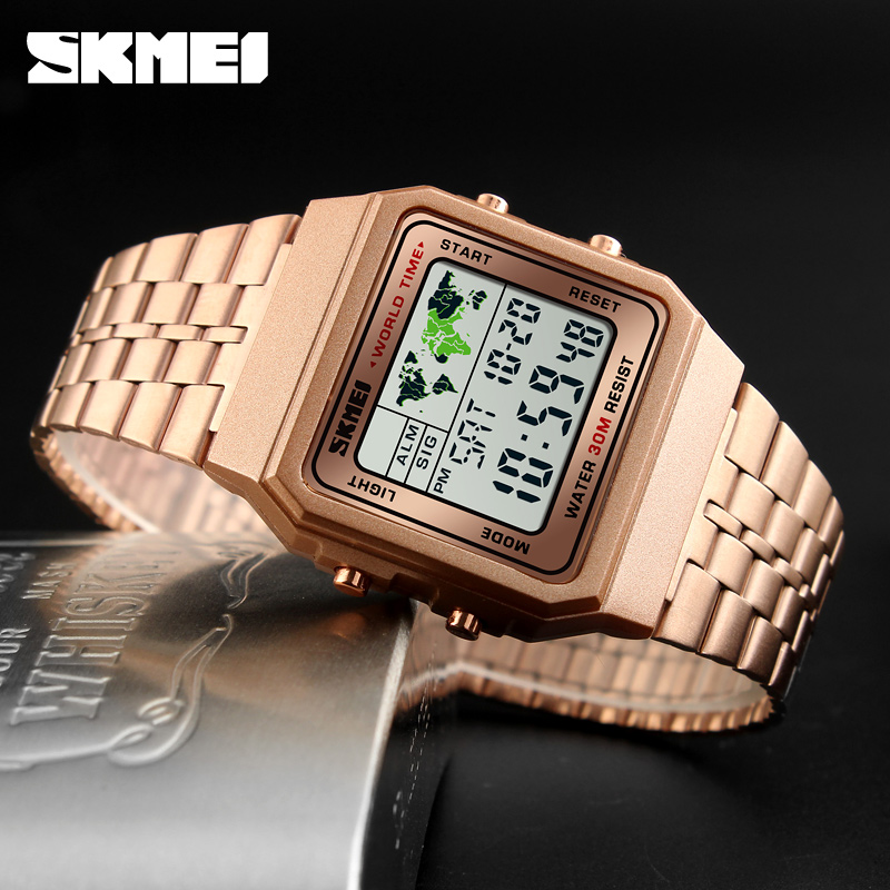 Image 5 - SKMEI Top Luxury Fashion Sport Watch Men Alarm Clock 3Bar Waterproof Stainless Steel Strap Digital Watches reloj hombre 1338-in Digital Watches from Watches