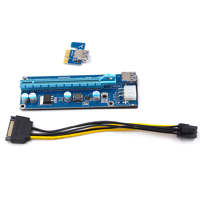 Image 4 - PCI E Riser PCI E Express 1X to 16X Riser Card 60CM USB 3.0 PCI E SATA to 6Pin Power Cable for BTC Bitcoin Mining Antminer Miner-in Computer Cables & Connectors from Computer & Office