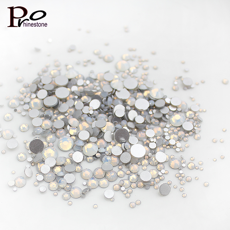New White Opal Mixed Sizes All Size Nail Rhinestones For Nails 3D Nail Decoration Manicure Nail Art Decoration opal rhinestones manicure 3d strass nail art decorations new arrival opal nail stones for nails design nagel decoratie zj1259