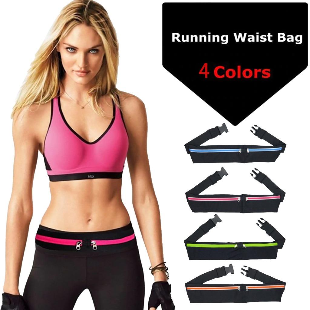 USA Dual Pocket Running Belt Phone Pouch Waist Bag Sport Travel Fanny Pack Men