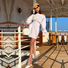 Europe Station Netred with Loose Sleeves Open Shoulder  Waist Shirt Dress New Women Fashion Purity Collage Splicing White