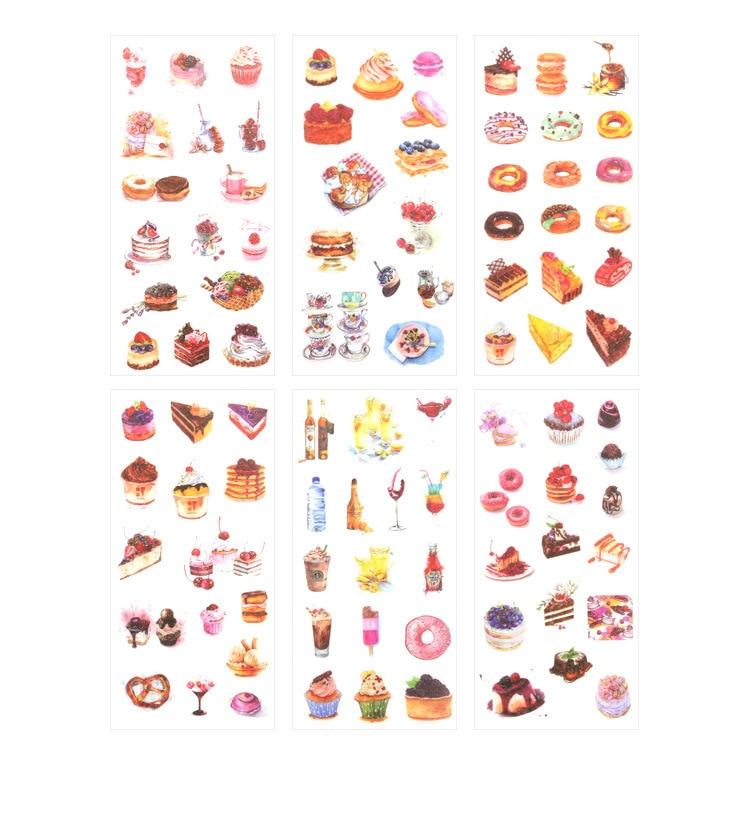 Купить с кэшбэком 6PCS/ PACK Kawaii Dessert Cake Food Sticker Marker Planner Diary DIY Stationery Stickers Scrapbooking Bullet Journal sl1338