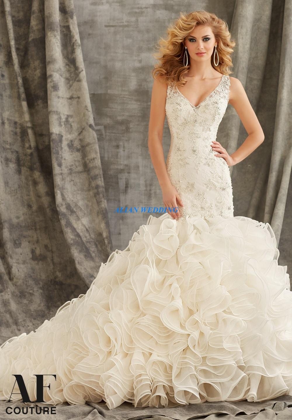 luxury wedding dresses new york mermaid vestidos de novia v neck beading bridal gowns lace organza ruffles free shipping nw3506