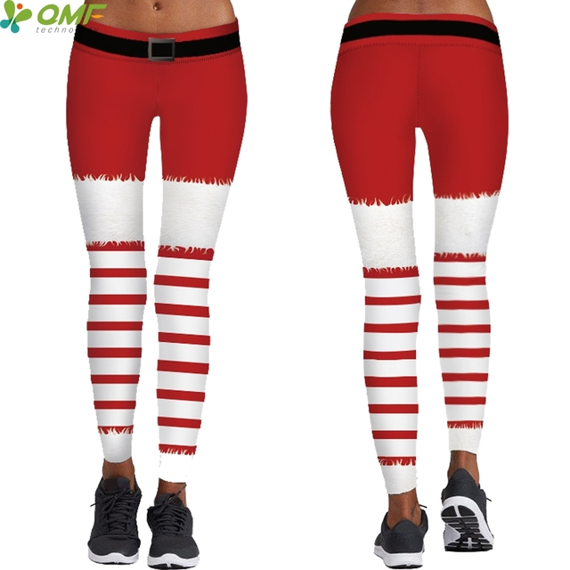 Red Stripes Female Yoga Leggings Fitness Training Tights Santa Claus  Cosplay Pencil Trousers Popular Christmas Tayt cb80a532c578