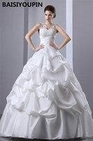 Cheap Wedding Dresses China Vestido De Novia 2017 White Taffeta Ball Gown Wedding Dress Custom Made