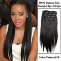 Em linha reta # 2 Top grau 8A clipe em brasileira humano cabelo virgem africano americano grampo em extensões de cabelo humano para as mulheres negras C202