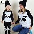 ОН Привет Наслаждаться мать и дочь одежда 2016 panda Теплый Белый Шерстяные Свитера Осень Зима Семьи Соответствующие Наряды Футболки