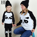 HE Hello Enjoy mother and daughter clothes 2016 panda Warm White Wool Sweaters Autumn Winter Family Matching Outfits T-shirt