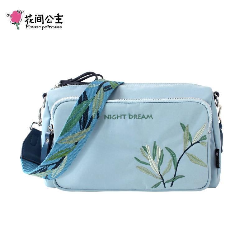 Flower Princess Women Messenger Bag Embroidery Wide Strap Shoulder Bags Large Capacity Nylon Woman Handbags