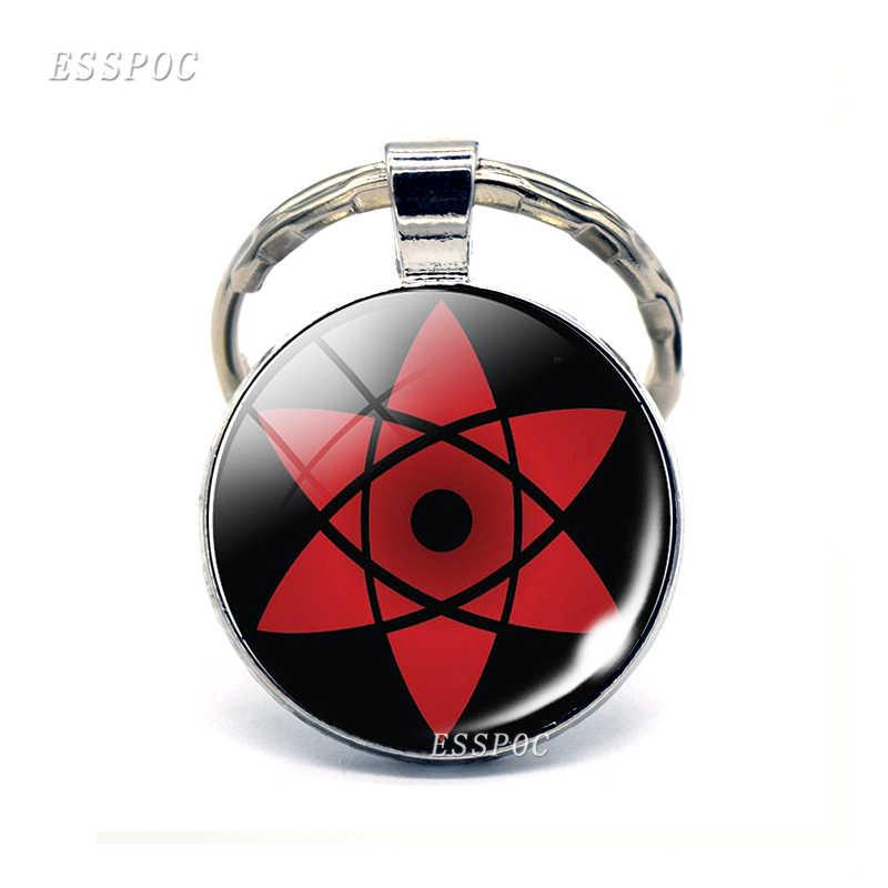 แฟชั่น Rinnegan ตาอะนิเมะ Naruto Sharingan Eye Badge การ์ตูนพวงกุญแจเงินแก้ว Cabochon โดมเครื่องประดับ Keyring คอสเพลย์ของขวัญ