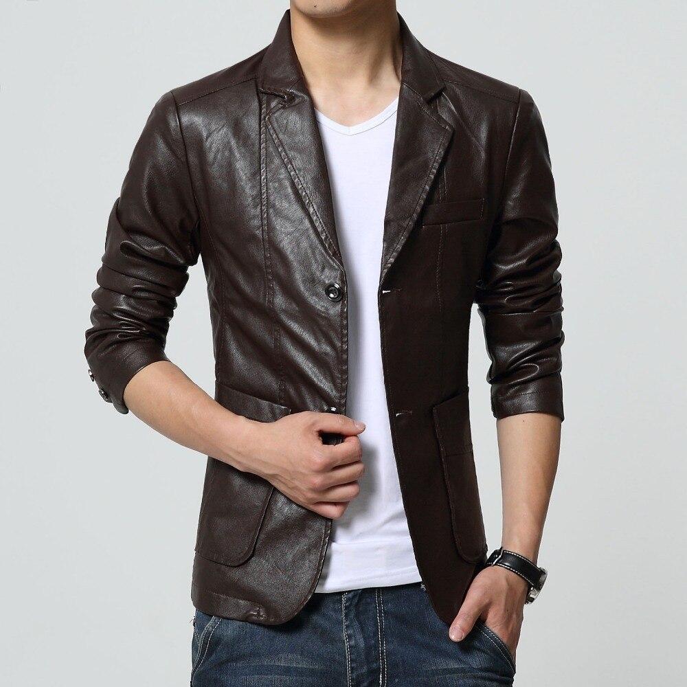 2019 yeni varış blazer erkekler PU faux deri İnce coat marka deri - Erkek Giyim - Fotoğraf 3