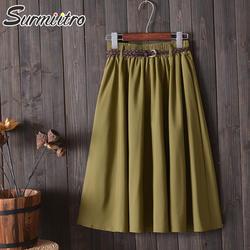 Surmiitro миди до колена длина летняя юбка женская с поясом 2019 модная Корейская Женская высокая талия плиссированная трапециевидная школьная