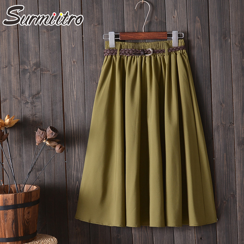 Surmiitro Knee Length Midi Summer Skirt Women With Belt 2020 Korean Ladies Blue Black Red High Waist Pleated School Skirt Female