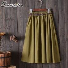 Женская юбка миди с ремнем Surmiitro, трапециевидная школьная юбка солнце с высокой талией длиной до колен для женщин на весну лето