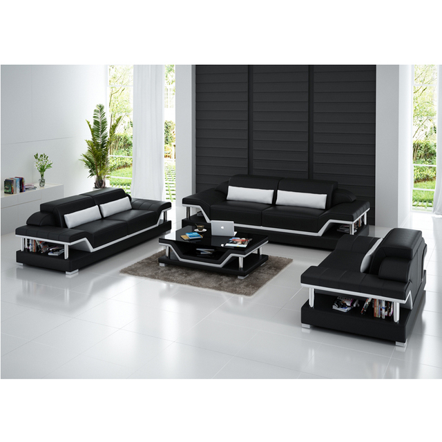 Pure Leather Furniture 5 Seater Sofa Set Designs With Low Price In