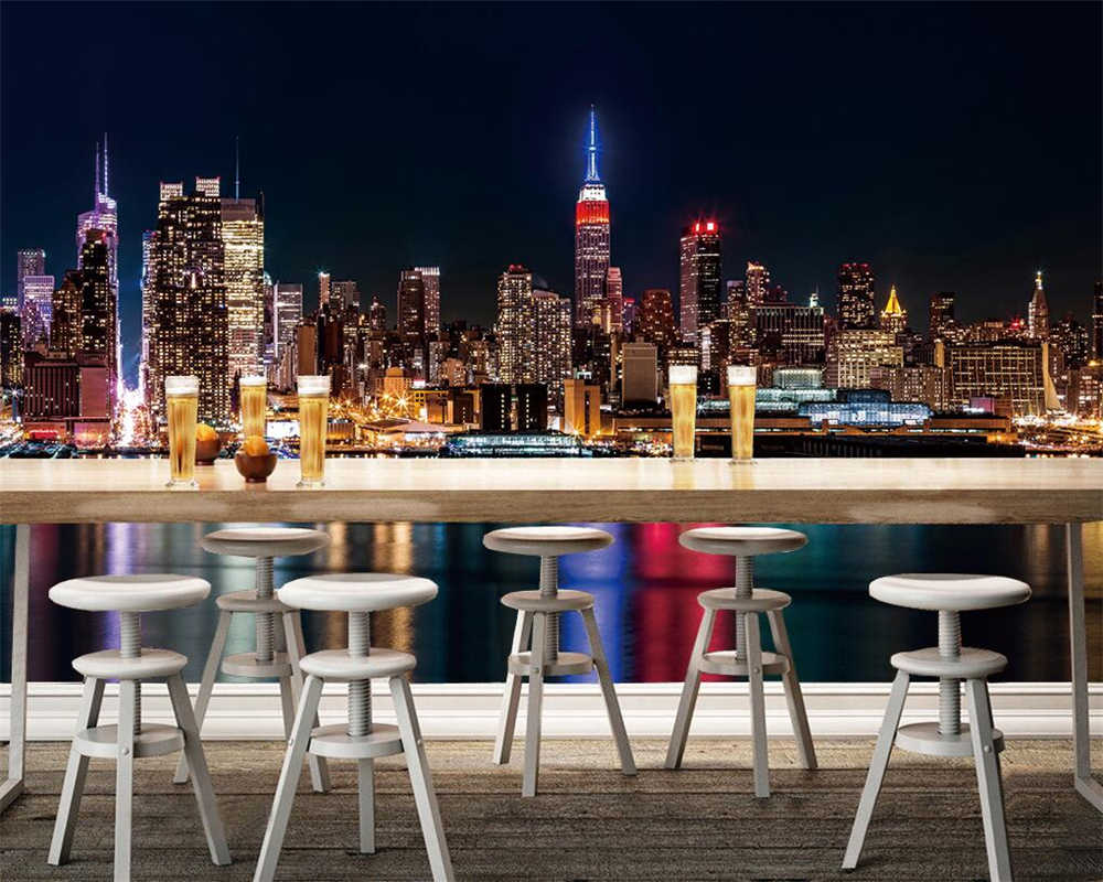 Beibehang Custom Wallpaper New York Night City Abstract Television