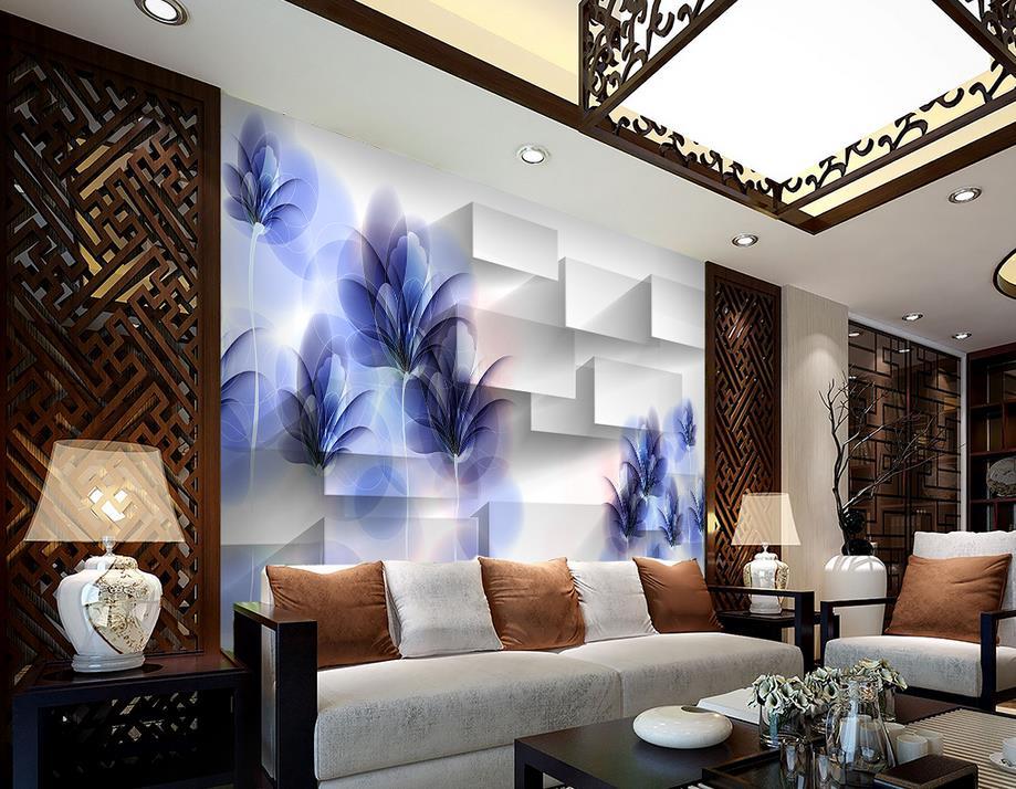 Fantasie Transparent Lila Hand Bemalt Blumen 3D Box 3d Wandbilder Wallpaper  Für Wohnzimmer Dekoration