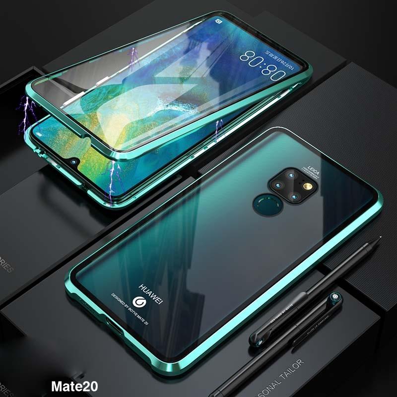 Luxe Aluminium Metalen Magnetische Case Voor Huawei Mate20 6.53 Inch 360 Front + Back Dubbelzijdig Gehard Glas Adsorptie Ks0174