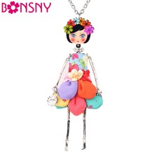 Bonsny Statement Flower Doll Necklace Dress Handmade French Doll Pendant News Alloy Girl Women Flower Fashion Jewelry Gift