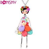 Bonsny Statement Flower Doll Necklace Dress Handmade French Doll Pendant 2016 News Alloy Girl Women Flower