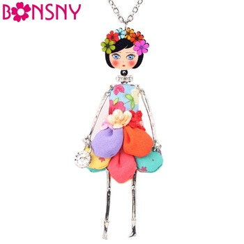 Bonsny Statement Flower Doll Necklace Dress Handmade French Doll Pendant News Alloy Girl Women Flower Fashion Jewelry Gift image
