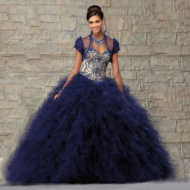 04187e27 2016 New Spring Design Organza Ball Gown Sweetheart Crystals Sequined  Ruffles Long Quinceanera Dresses With Jacket Night Dresses