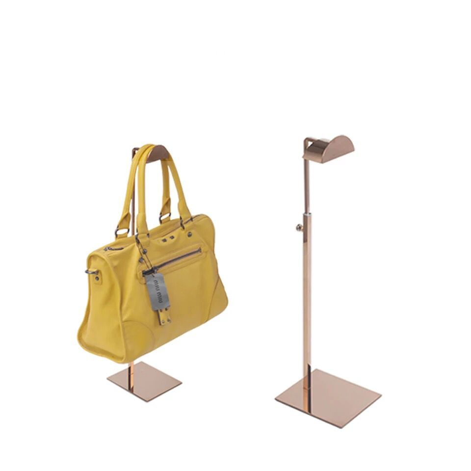 10pcs pack Stainless steel mirror surface handbag display stand holder font b racks b font rose