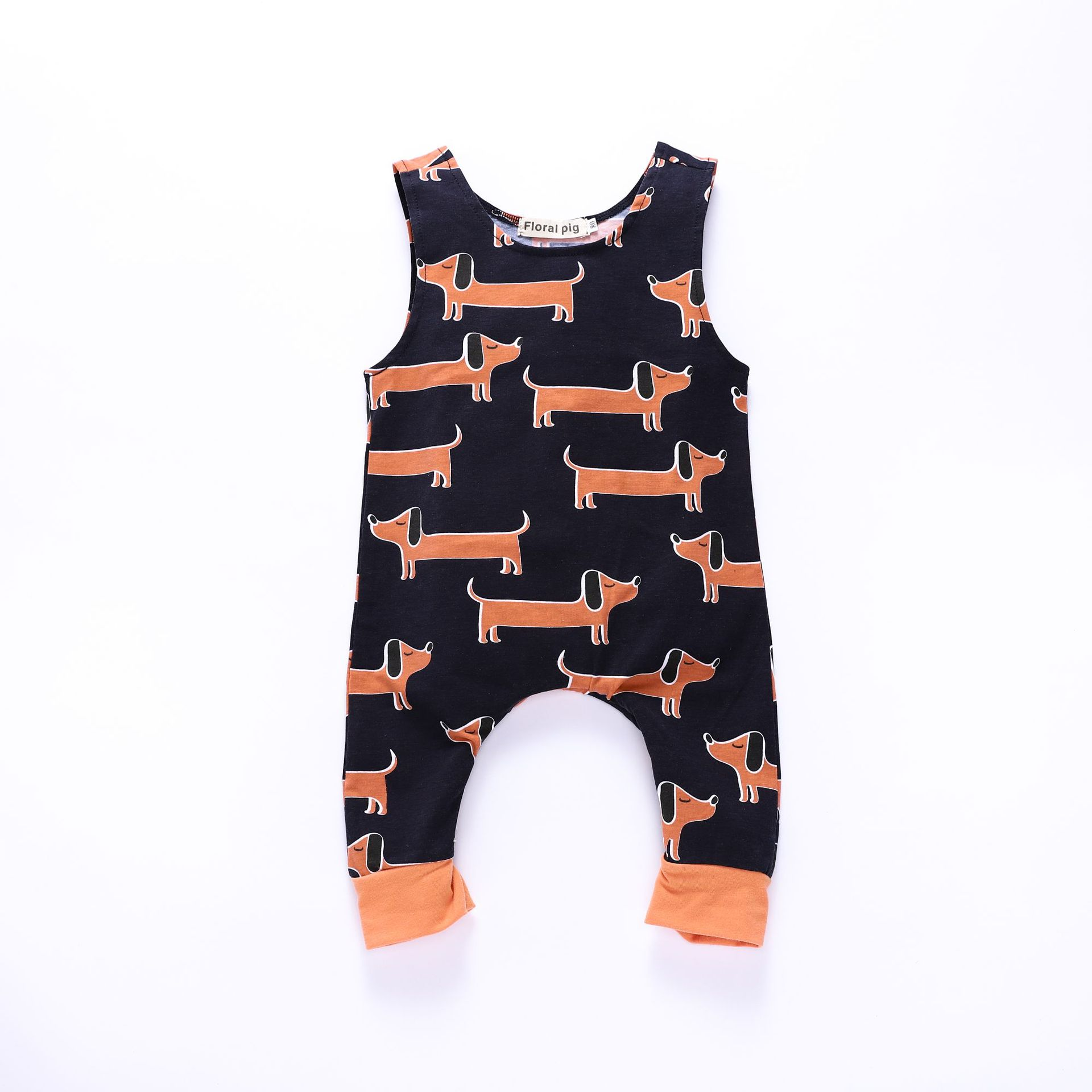 9dd7792ad81 Floral Pig Baby Rompers Sleeveless Newborn Baby Boy Girl Unisex Cute  Dachshund Dog Print Jumpsuit Outfits