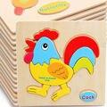 O envio gratuito de crianças animais dos desenhos animados 3D puzzles de madeira clássico, crianças Jigsaw puzzle brinquedos educativos