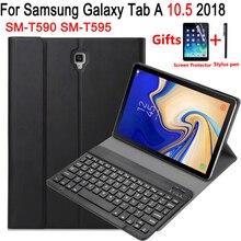 Funda con teclado Bluetooth para Samsung Galaxy Tab A 10,5 2018, SM T590, SM T595, T590, T595