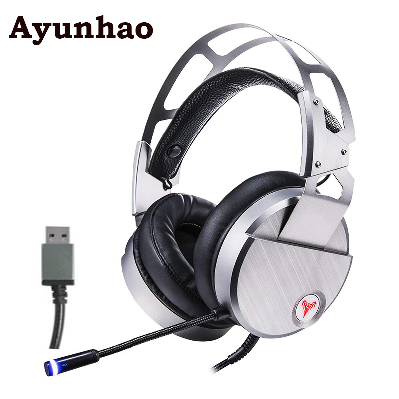 Gaming Headset 7.1 Sound Over-ear Headphone Earphone USB Microphone For Bass Stereo Laptop Computer with Led light display original xiberia v5 gaming headphone super bass stereo usb wired headset microphone over ear noise lsolating pc gamer headphones