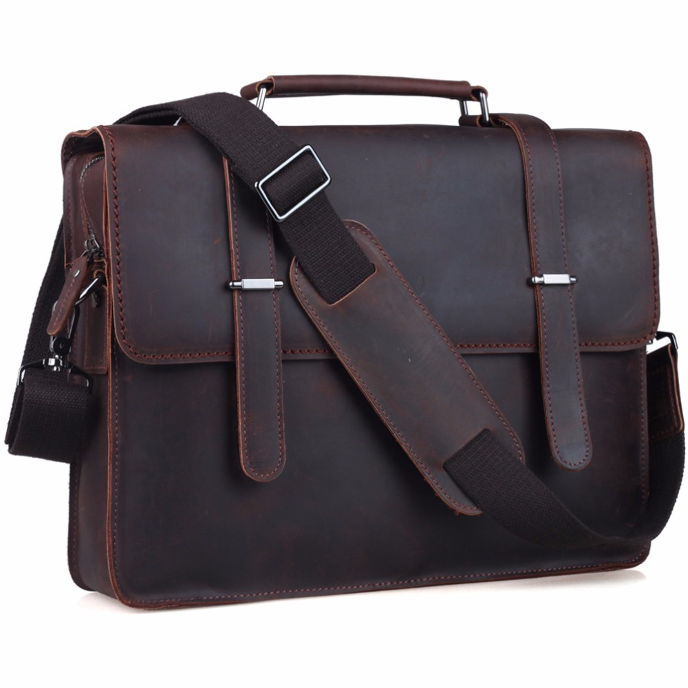 "TIDING Genuine Leather 14"" Laptop Briefcase Mens Messenger"