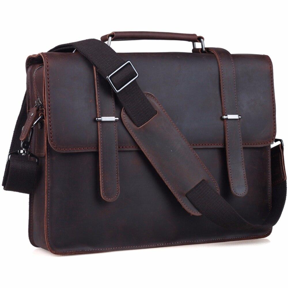 TIDING Genuine Leather 14 Laptop Briefcase Mens Messenger Shoulder Computer Bag Notebook Bag Vintage Style 1081